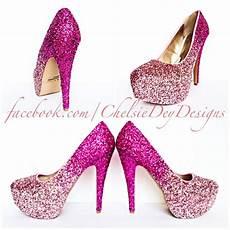 Light Pink Sparkly Heels Glitter High Heels Pink Pumps Light Pink Ombre