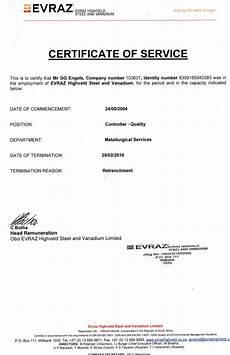 Service Certificate Model Certificate Of Service Retrenchment