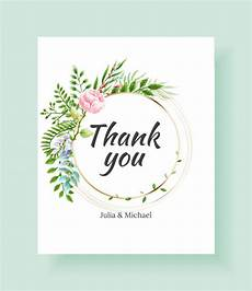 Wedding Thank You Postcard Template Wedding Thank You Card Template Vector Watercolor Flowers