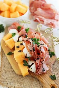 melon proscuitto and mozzarella skewers