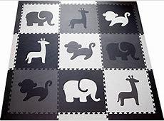 SoftTiles Kids Foam Play Mat   Safari Animals Theme  Nontoxic Puzzle Play Mats for Children's