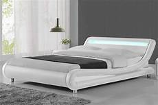 madrid led lights modern designer bed white faux leather