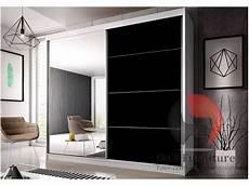 large white mirror sliding wardrobe 233cm