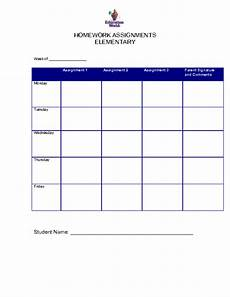 Homework Assignments Template 6 Free Homework Templates Excel Pdf Formats