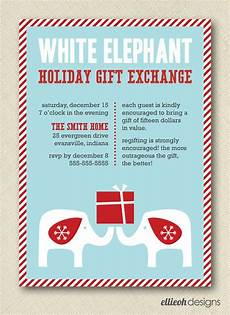Christmas Gift Exchange Invitations White Elephant Holiday Gift Exchange Invite By
