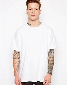 oversized sleeve tshirt asos t shirt with oversized fit and roll sleeve in white