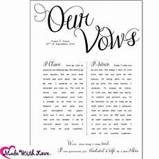 Wedding Vows Printed With Your Personal Wording Perfect