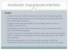 Summary Paragraphs Writing Strategies Writing Paragraphs