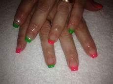 Light Pink And Green Nails Pink And Green Neon Nails Nails Pinterest