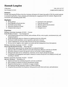 Skills And Interests On Resume Best Wellness Activities Assistant Resume Example Livecareer