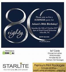 80th Birthday Invitation Navy And Silver 80th Birthday Invitation Modern Number