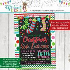 Christmas Gift Exchange Invitations Christmas Sock Exchange Party Invitation Kids Christmas