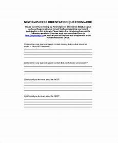 New Hire Orientation Surveys Free 7 Sample Orientation Feedback Forms In Ms Word Pdf