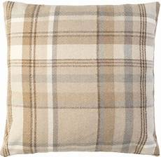 large beige tartan check cushion cover woven wool