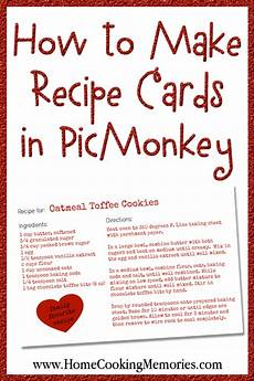 Homemade Recipe Cards How To Make Recipe Cards In Picmonkey Home Cooking Memories