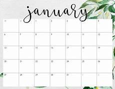 Calendar January December 2020 Pretty Calendars January December 2019 Green Floral By