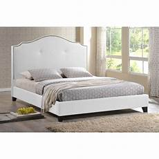 marsha scalloped white modern bed with upholstered