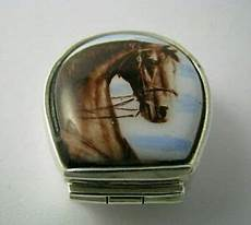 Excel Pills Sterling Silver Pill Box Hand Painted Porcelain Plaque