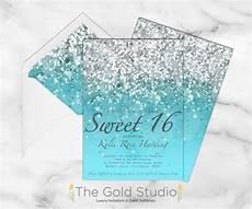Light Blue Sweet 16 Invitations Printable Sweet 16 Invitation Blue Glitter Sweet Sixteen