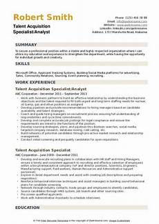 Acquired Skills Resume Talent Acquisition Specialist Resume Samples Qwikresume