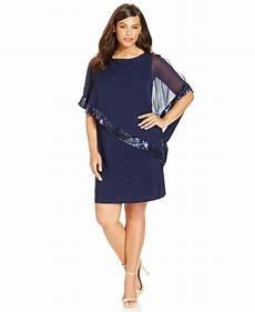 Xscape Plus Size Dresses Size Chart Xscape Plus Size Sequin Trim Capelet Dress In Blue Lyst