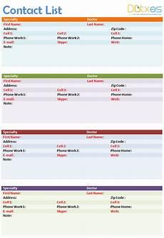 Address List Template Word Contact List Template 4 Per Page Dotxes Contact List