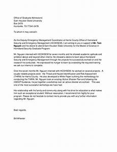 Graduate School Letter Of Recommendation Reference Letter Graduate School