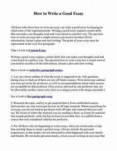 A Good Essay Examples How To Write An Essay