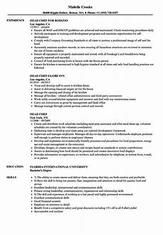 Example Of Chef Resume Sample Cv Head Chef Head Chef Resume