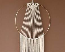 large macrame hoop wall hanging white gold