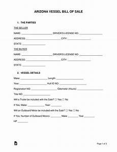 Bill Of Sale Az Free Arizona Vessel Bill Of Sale Form Pdf Word