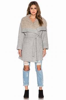cozy coats free cotton cozy belted wrap coat in grey gray lyst