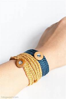 crochet wrap bracelet with button one woof