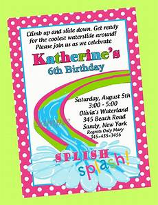 Pool Party Invitations Wording Girls Waterslide Pool Party Birthday Party Invitation