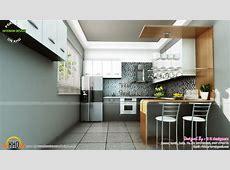 Study room, modern kitchen, living interior   Kerala home design and floor plans