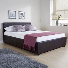 winston side lift ottoman bed brown faux leather