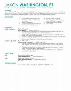 Physiotherapy Resume Sample Best Physical Therapist Resume Example Livecareer