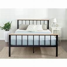 zinus contemporary metal and wood black king platform bed