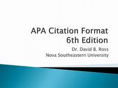 Apa Presentation Format Ppt Apa Citation Format 6th Edition Powerpoint