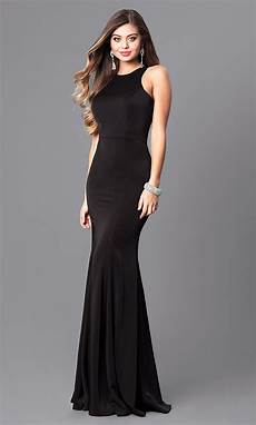 black clothes racerback jersey prom dress with high neck promgirl