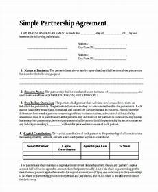 Simple Partnership Agreement Free 44 Agreement Forms In Ms Word