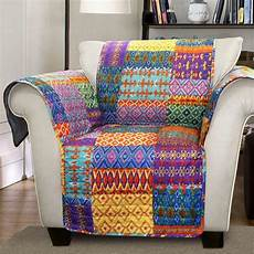 Patchwork Sofa Cover 3d Image by Orange Yellow Blue Purple Boho Patchwork Chair Furniture