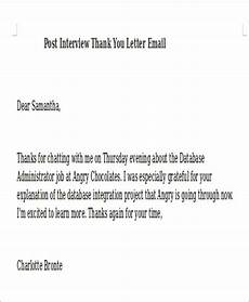 Sample Post Interview Thank You Letter Free 6 Sample Post Interview Thank You Letter Templates