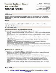 Career Objective Examples For Customer Service Seasonal Customer Service Representative Resume Samples