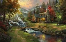 kinkade cottage painting mountain paradise limited edition canvas