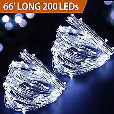 Christmas String Lights White Cord 66 Long Cool White Silver Wire Led String Lights Battery