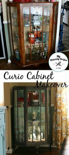 curio cabinet makeover using chalky finish my heavenly