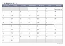 Calendar 2015 August July And August 2015 Printable Calendar Icalendars Net