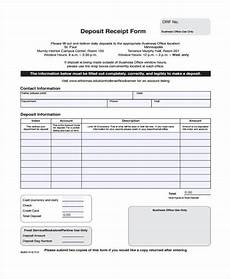 Generic Receipt Form Free 7 Deposit Receipt Form Samples In Sample Example