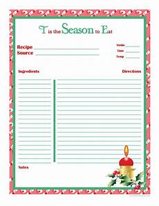Homemade Recipe Cards Christmas Recipe Card Full Page Recipe Cards Template